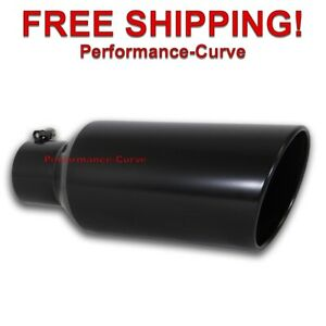 Black Diesel Stainless Steel Bolt On Exhaust Tip 4 Inlet 7 Outlet 18 Long
