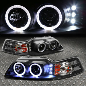 halo Ring led Drl for 1999 2004 Ford Mustang Black Amber Projector Headlight