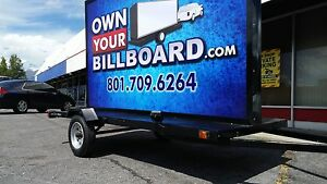 6 x10 Billboard Trailer With Led Arrow Sign Multicolor With Vinyl Banners