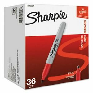 Sharpie 1920937 Fine Point Permanent Marker Red 36 Markers san1920937