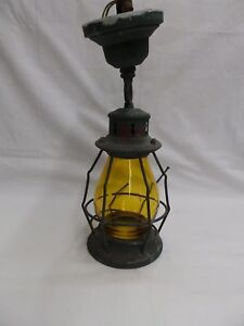Antique Copper Ceiling Porch Light Amber Stained Cylinder Glass Old Vtg 4771 15