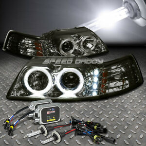 Smoked Dual Halo Projector led 1pc Headlight 6000k Hid For 99 04 Mustang Sn 95