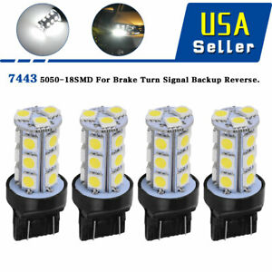 4x White 7443 18 Smd Led Light Bulbs Turn Signal Backup Reverse T20 7440 7441
