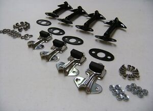 1932 Ford Car Pickup Truck Hood Latch Clip Kit Set Black W Pads And Hardware