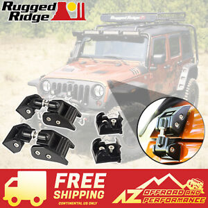 Rugged Ridge Hood Catch Kit Black Aluminum 07 18 Jeep Wrangler Jk Jku 11210 11