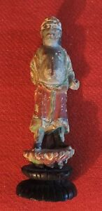 Antique Chinese Carved Wood Immortal Warrior Figure Paint Decorated Gilt 19th C