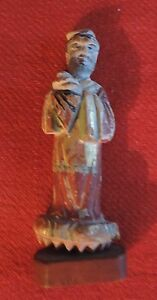 Antique Chinese Carved Wood Immortal Scholar Figure Paint Decorated Gilt 19th C