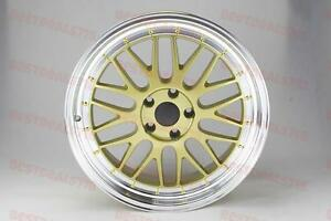 Lm Style Wheels 19 Gold Machine Lip Rims Fits 5x114 Camry Honda Accord Civic