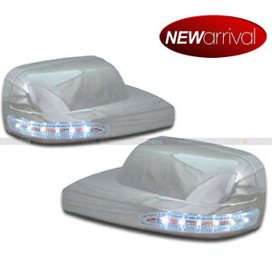 Fit 05 08 Mustang Chrome Side Mirror Cover W White Led Signal Lights