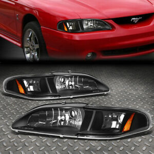 For 1994 1998 Ford Mustang Sn 95 Black Housing Amber Corner Headlight Lamp Set