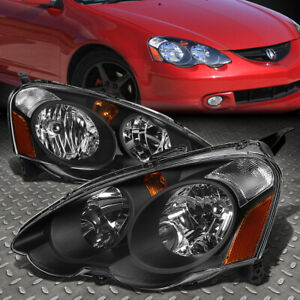 For 02 04 Acura Rsx Black Housing Amber Corner Headlight Replacement Head Lamps
