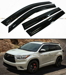 For 2014 2017 Toyota Highlander Xu50 Jdm Wavy 3d Smoked Window Visor Rain Guard