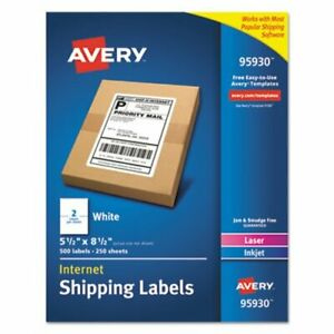 Avery White Shipping Labels Laser inkjet 5 5 X 8 5 White 500 bx ave95930