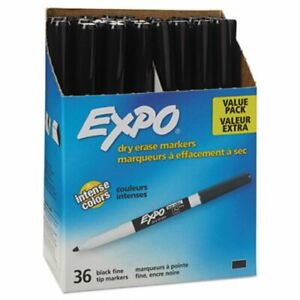Expo Low Odor Dry Erase Marker Fine Point Black 36 box san1921062