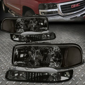 For 99 07 Gmc Sierra Yukon Xl Smoked Housing Clear Corner Headlight Bumper Lamps Fits More Than One Vehicle