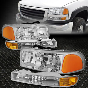 For 99 07 Gmc Sierra Yukon Xl Chrome Housing Amber Corner Headlight Bumper Lamps