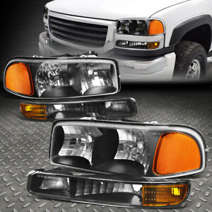 For 99 07 Gmc Sierra Yukon Xl Black Housing Amber Corner Headlight Bumper Lamps