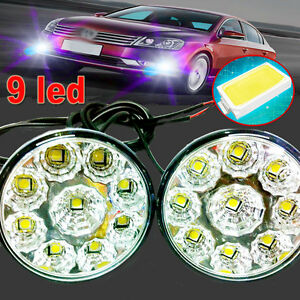 2x 9 Led Drl Car Fog Lamp Round Driving Running Daytime Light Head Light White