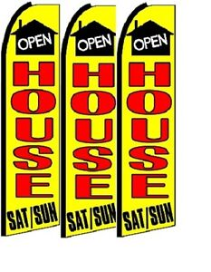 Open House King Size Polyester Swooper Flag Pk Of 3