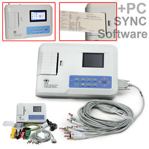 Digital 3 Channel 12 Lead Ecg ekg Machine software Electrocardiograph Us Seller