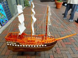 Antique Hand Crafted Large Wood Canvas Maritime Ship Boat Model 46 X 54 X 10