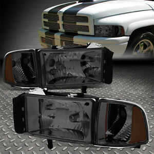 For 94 02 Dodge Ram 1500 2500 3500 Smoked Housing Amber Corner Headlight Lamps