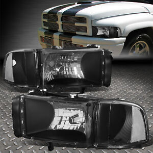 For 1994 2002 Dodge Ram Pickup Truck Black Housing Headlights Clear Corner Lamp