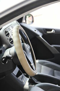 Non Slip Water Stain Resist Steering Wheel Cover Pefect Fit Beige Color