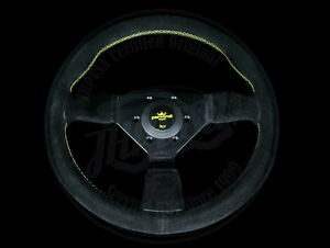 Personal Grinta 350mm Black Suede Steering Wheel W Yellow Stitch 6430 35 2292