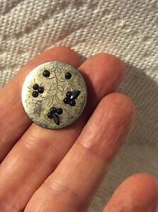 Antique Sewing Engraved Floral Cut Steel Button Raised Blue Top