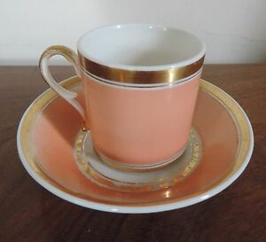 Antique 19th C Empire Old Paris Porcelain Tea Cup Saucer French Coffee Can