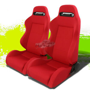 2 X Universal Light Weight Reclinable Type R Red Racing Seats Red Stitches Jdm