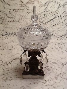 Antique Crystal Gold Tone Compote With Lid Marble Base 349