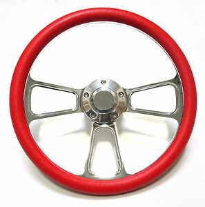 Hot Rod Street Rod Rat Rod Truck Red Billet Steering Wheel Horn