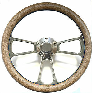 Hot Rod Street Rod Rat Rod Truck Tan Alligator Billet Steering Wheel Horn