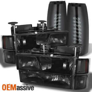 Fit Smoked 94 98 Chevy C10 C k Pickup Headlights Smoked Led Tail Lights Lamps