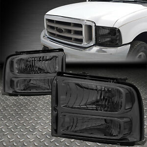 For 05 07 Ford F250 F350 Super Duty Smoked Housing Clear Corner Headlight Lamps