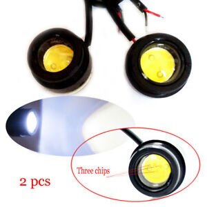 2x 9w Bright Car Cob Led Round Headlight Drl Driving Daytime Running Light Lamp