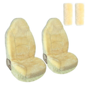 Front Car Seat Covers High Back 2pcs With 2pcs Shoulder Pads Sheepskin Champagne