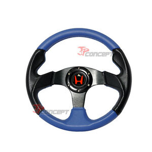 320mm Jdm Racing Sport Steering Wheel Black Pvc Blue Stitching 2 Tones W Horn