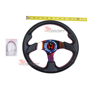 320mm Jdm Steering Wheel Black Carbon Fiber Neo Chrome Spokes W red H Emblem