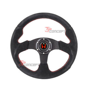 320mm Jdm Steering Wheel Black Suede Red Stitch Horn Button W Red H Emblem