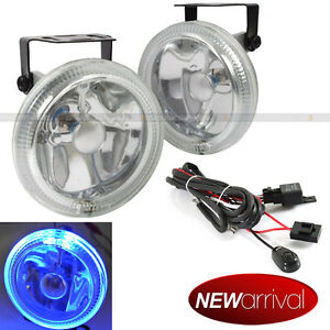 For Explorer 4 Round Super White W Blue Halo Bumper Driving Fog Light Lamp Kit