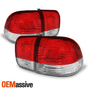 Fits 1996 1998 Honda Civic 4dr Sedan Red Clear Tail Lights Lamp Left right Pair