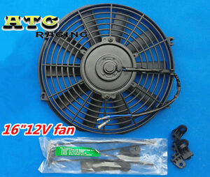 Universal Slim 16 12v Push Pull Electric Engine Radiator Cooling Fan