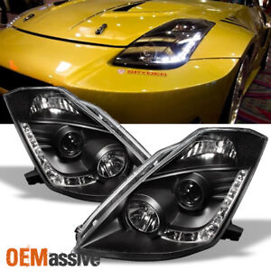 Fits 03 05 350z Fairlady Z33 Black Drl Led Strip Projector Headlights Lamps Pair