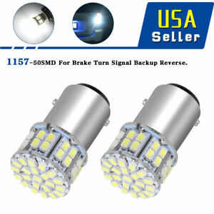 2x 6000k White 1157 High Power 50smd Rv Tail Brake Led Lights Bulb Bay15d 12v