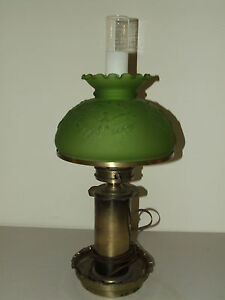 Antique Victorian Colonial Style Table Lamp W Patriotic Eagle Green Glass Shade