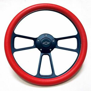 Red Black Steering Wheel 14 Muscle Style Wheel With Chevy Bowtie Horn Button