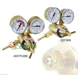 Brass Oxygen Cga540 Acetylene Cga200 Regulators Gauges 4 Gas Welding Torch Kit